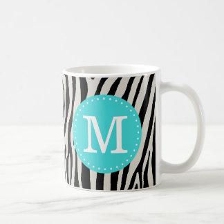 Turquoise and Black Zebra Stripe Custom Monogram Coffee Mug