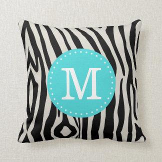 Turquoise and Black Zebra Stripe Custom Monogram Throw Pillow
