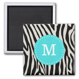 Turquoise and Black Zebra Stripe Monogram 2 Inch Square Magnet