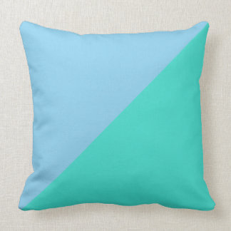 Turquoise and Blizzard Blue Solid Color Background Throw Pillows