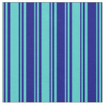 [ Thumbnail: Turquoise and Blue Colored Lined Pattern Fabric ]