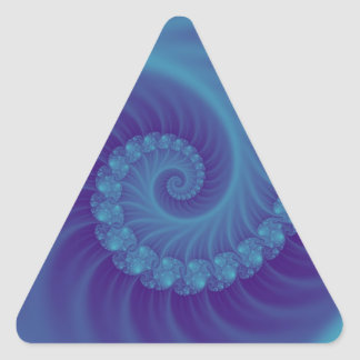 Turquoise and blue fossil efffect  3D fractal. Triangle Sticker