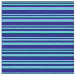 [ Thumbnail: Turquoise and Blue Lines Pattern Fabric ]
