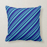 [ Thumbnail: Turquoise and Blue Lines Pattern Throw Pillow ]