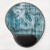 Turquoise and Blue Nautical Anchor on Wood Gel Mouse Pad