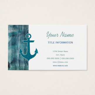 Turquoise and Blue Nautical Glitter Anchor on Wood Business Card