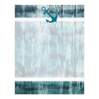 Turquoise and Blue Nautical Glitter Anchor on Wood Letterhead