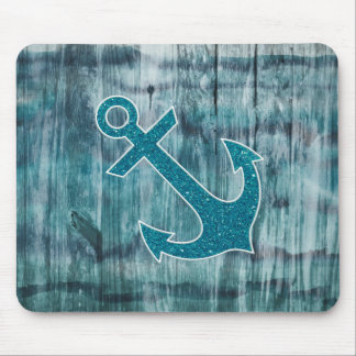 Turquoise and Blue Nautical Glitter Anchor on Wood Mouse Pad