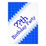 Turquoise and Blue Retro Chequered Birthday Announcement