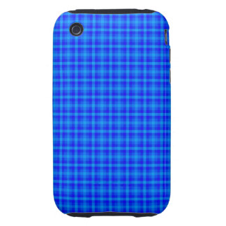 Turquoise and Blue Retro Chequered Pattern Tough iPhone 3 Cases