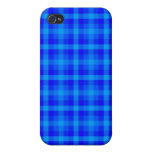Turquoise and Blue Retro Chequered Pattern Case For iPhone 4