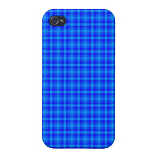 Turquoise and Blue Retro Chequered Pattern iPhone 4/4S Case