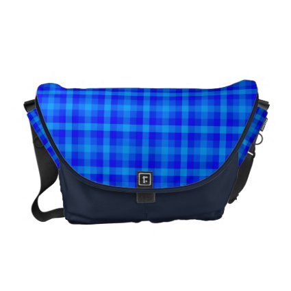 Turquoise and Blue Retro Chequered Pattern Courier Bag