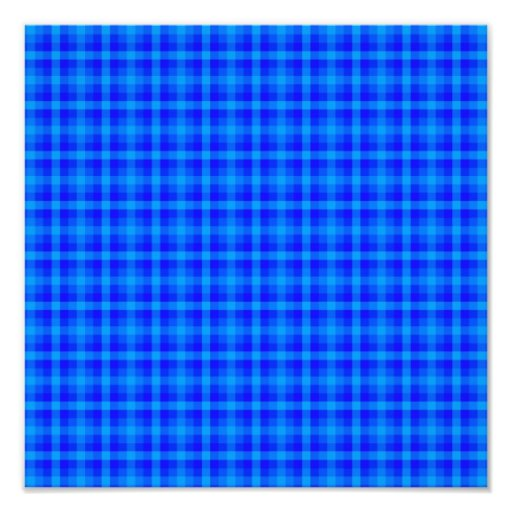 Turquoise and Blue Retro Chequered Pattern Photo Print