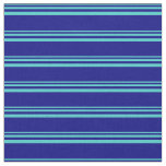 [ Thumbnail: Turquoise and Blue Striped Pattern Fabric ]