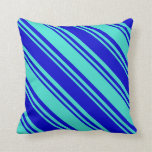 [ Thumbnail: Turquoise and Blue Striped Pattern Throw Pillow ]