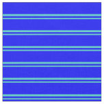 [ Thumbnail: Turquoise and Blue Stripes/Lines Pattern Fabric ]