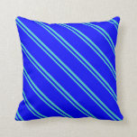 [ Thumbnail: Turquoise and Blue Stripes/Lines Pattern Pillow ]