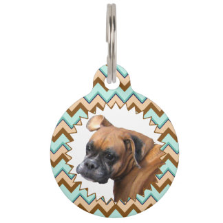 Turquoise and Brown Bold Zigzag Pattern Pet Name Tag