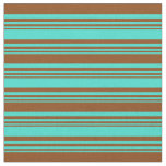 [ Thumbnail: Turquoise and Brown Colored Pattern Fabric ]