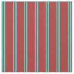 [ Thumbnail: Turquoise and Brown Colored Pattern of Stripes Fabric ]