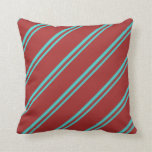 [ Thumbnail: Turquoise and Brown Colored Pattern of Stripes Throw Pillow ]