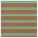 [ Thumbnail: Turquoise and Brown Colored Striped Pattern Fabric ]