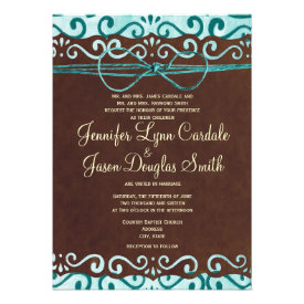 Turquoise and Brown Country Wedding Invitations Announcement