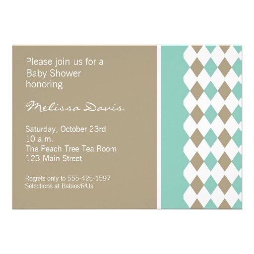 Turquoise and Brown Diamond Invitation