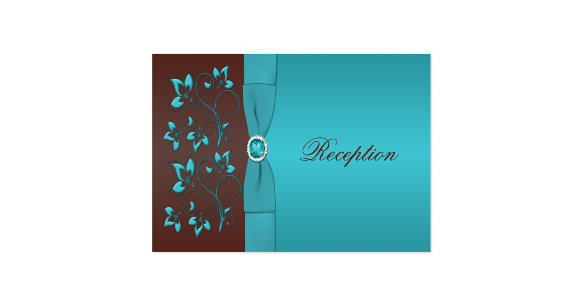 Turquoise and brown floral enclosure card zazzle