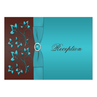 Turquoise and Brown Floral Enclosure Card Large Business Card
