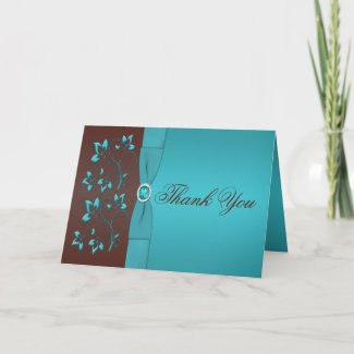 Turquoise and Brown Floral Jewelled Thank You Card card
