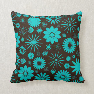 Turquoise and Brown Floral Jumbo Pillow