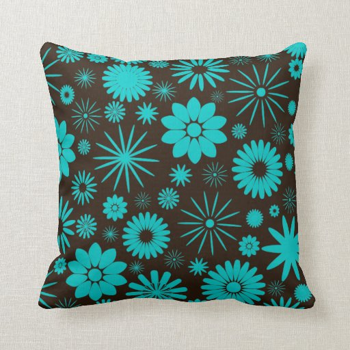 Turquoise and Brown Floral Jumbo Pillow Zazzle