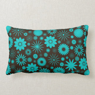 Turquoise and Brown Floral Pattern Pillow
