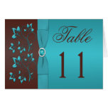 Turquoise and Brown Floral Table Number Card