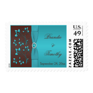 Turquoise and Brown Floral Wedding Postage