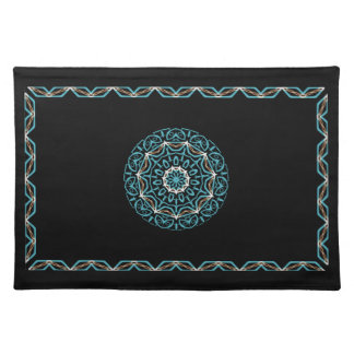 turquoise and brown placemat cloth placemat