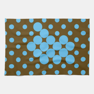 Turquoise and brown polka dots placemat hand towel