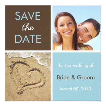 Beach Themed Turquoise and Brown Save the Date Photo Cards