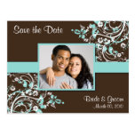 Turquoise and Brown Save the Date Photo Postcards