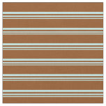 [ Thumbnail: Turquoise and Brown Stripes Pattern Fabric ]