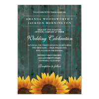 Turquoise and Brown Sunflower Wedding Invitations