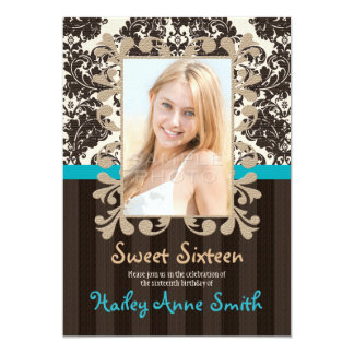 Turquoise and Brown Vintage Damask Sweet Sixteen 5x7 Paper Invitation Card