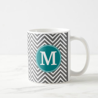 Turquoise and Charcoal Chevrons Custom Monogram Coffee Mug