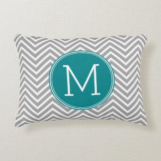 Turquoise and Charcoal Chevrons Custom Monogram Decorative Pillow