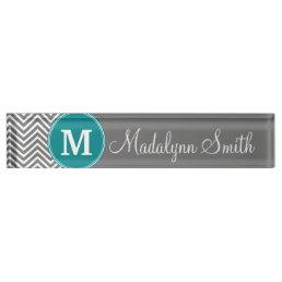 Turquoise and Charcoal Chevrons Custom Monogram Desk Name Plate
