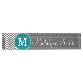 Turquoise and Charcoal Chevrons Custom Monogram Desk Name Plate