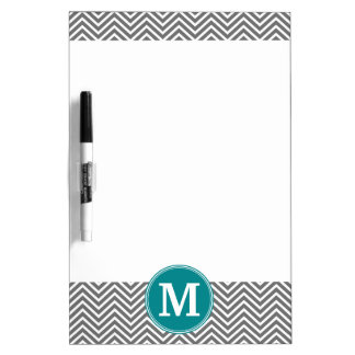 Turquoise and Charcoal Chevrons Custom Monogram Dry-Erase Board