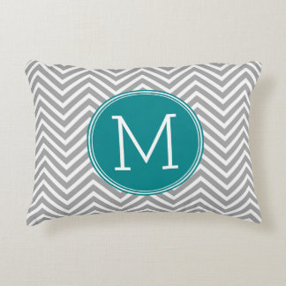 Turquoise and Charcoal Chevrons Custom Monogram Accent Pillow